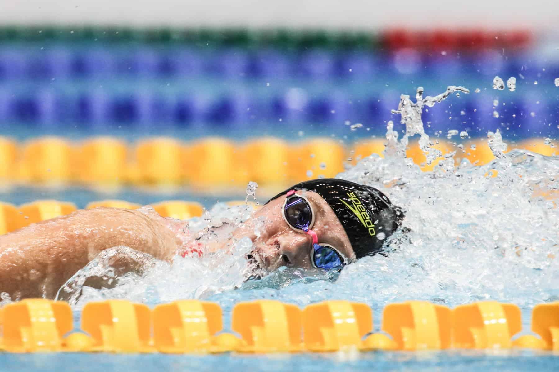 Über 800 Meter schwimmt die Vize-Weltmeisterin von Südkorea direkt deutschen Rekord.