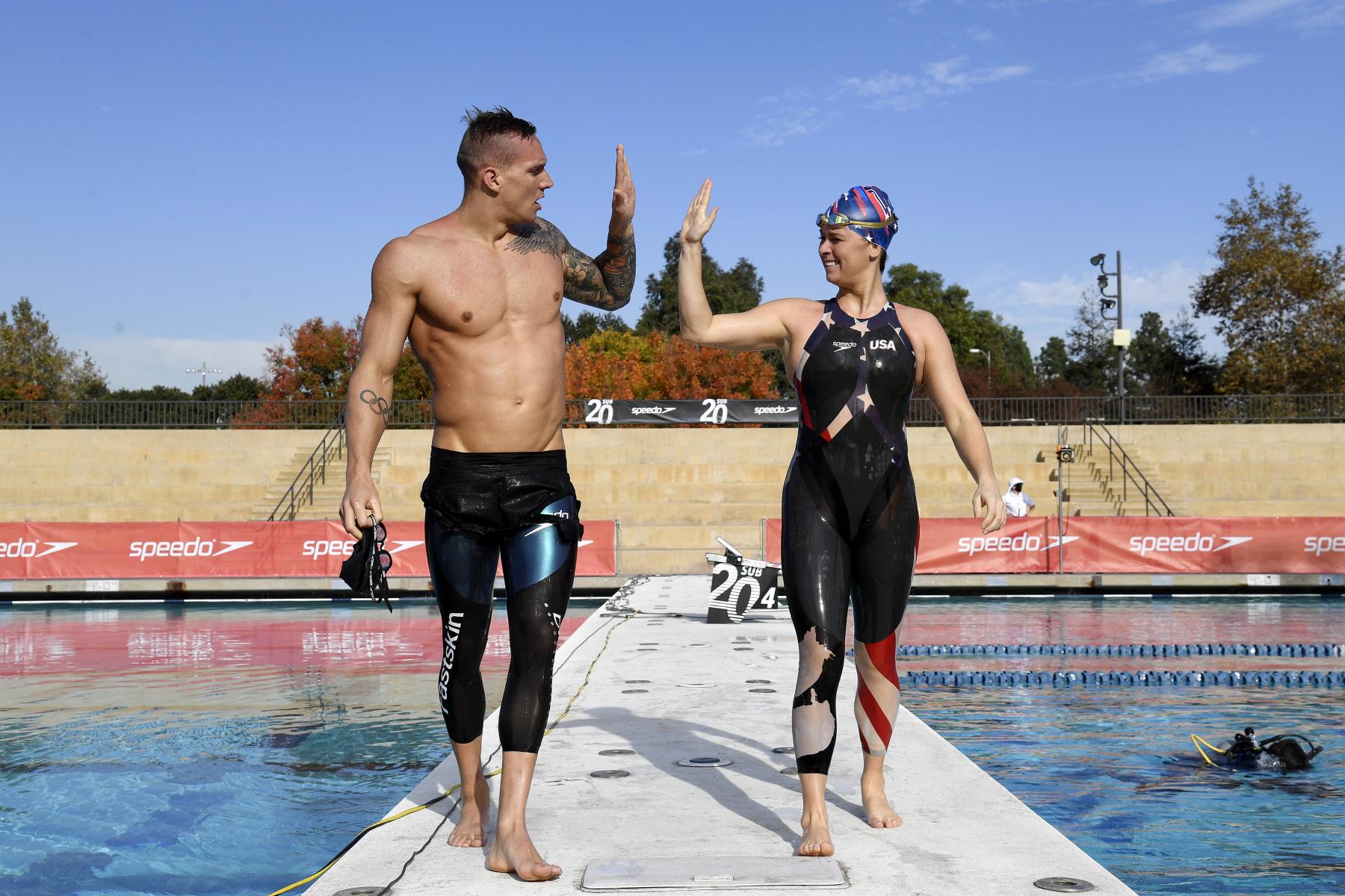 Wuderschwimmer im Wunderanzug: In Kalifornien sprintet Caeleb Dressel 50 Meter im Alleingang gegen die Uhr. Foto: Getty Images