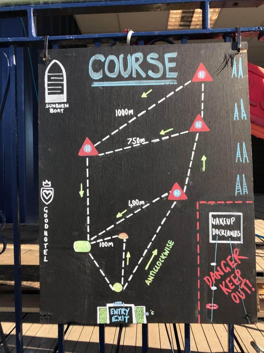 Auf einer Tafel am Schwimmeinstieg werden die Trainingsrunden dargestellt.